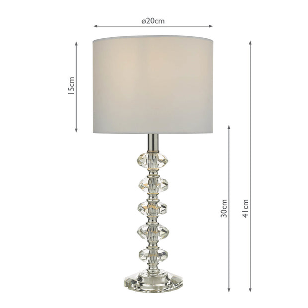 Dar Shyla SHY4208 Crystal Table Lamp Complete With White Cotton Shade