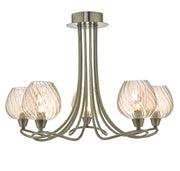 Dar Sivyer SIV5475 5 Light Semi Flush Ceiling Light In Antique Brass Finish With Champagne Glass Shades