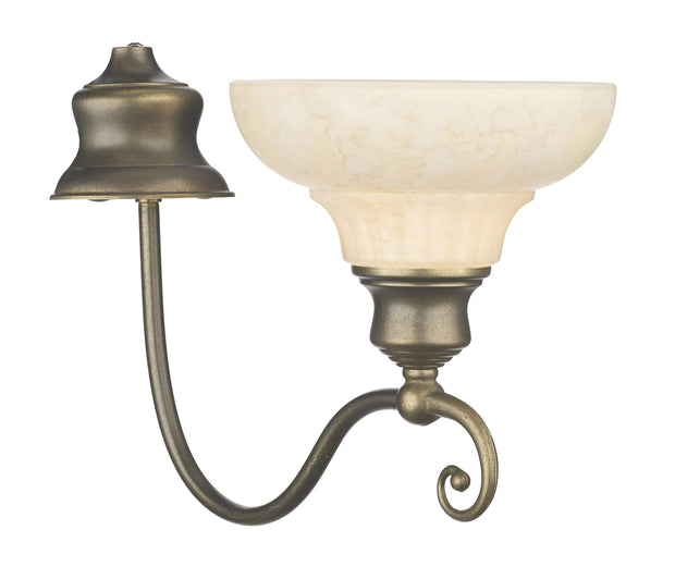 David Hunt Stratford STR111 Aged Brass Single Wall Light Complete With Marble Effect Glass Shade