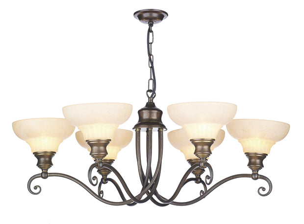 David Hunt Stratford STR611 Aged Brass 6 Light Chandelier Complete With Marble Effect Glass Shades