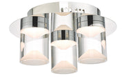 Dar Susa SUS5350 3 Light LED Flush Ceiling Light In Polished Chrome & Acrylic - IP44