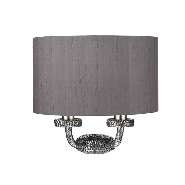 David Hunt Sloane SLO3099 Pewter Double Wall Light Complete With Bespoke Shade - (Specify Colour)