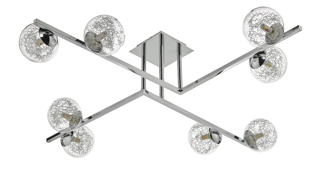 Dar Taghrid TAG4850 8 Light Semi Flush Ceiling Light In Polished Chrome Finish With Glass Shades