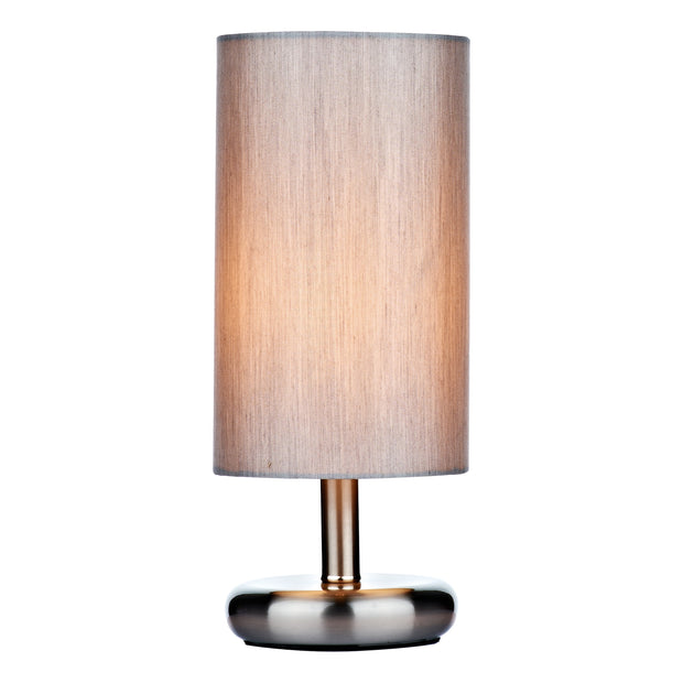 Dar Tico TIC4139 Satin Chrome Touch Table Lamp Complete With Grey Cotton Shade