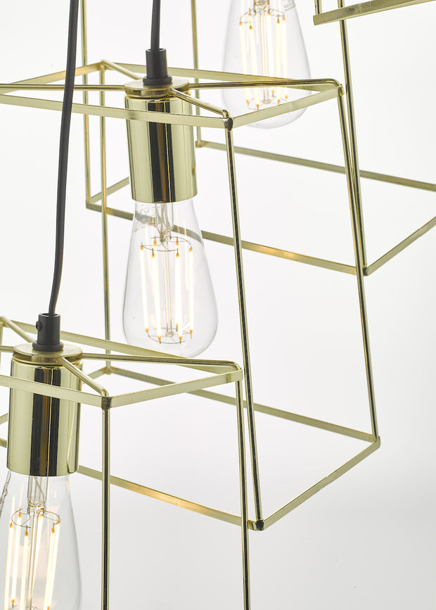 Dar Tower TOW0635 6 Light Cluster Pendant In Polished Gold Finish