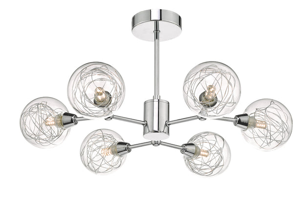 Dar Tyka TYK6450 6 Light Semi Flush Ceiling Light In Polished Chrome Finish With Glass Shades