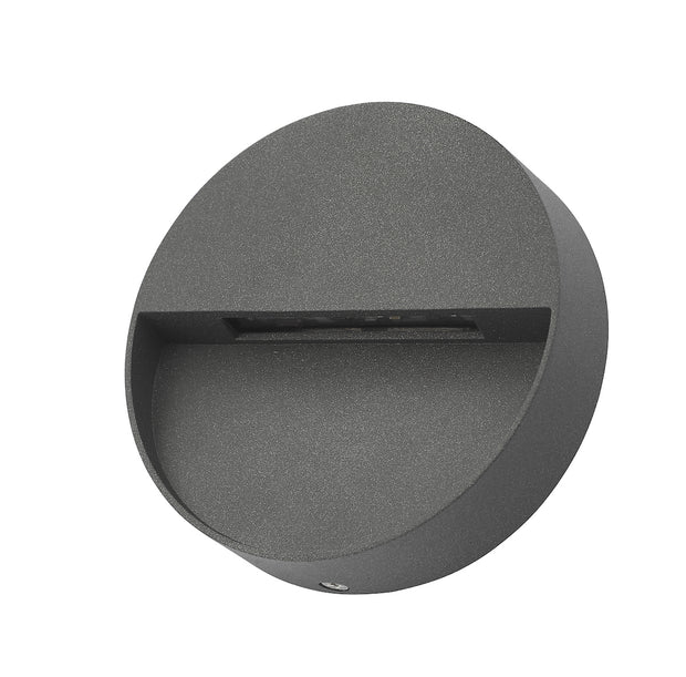 Dar Ugo UGO2139 Exterior LED Round Wall Light Eyelid In Anthracite Finish - IP65