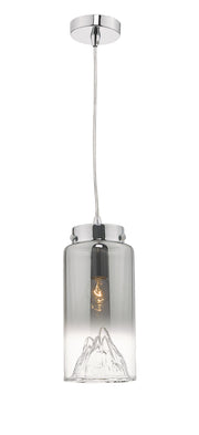 Dar Vahla VAH0110 Single Pendant In Polished Chrome Finish With Smoked Ombre Glass