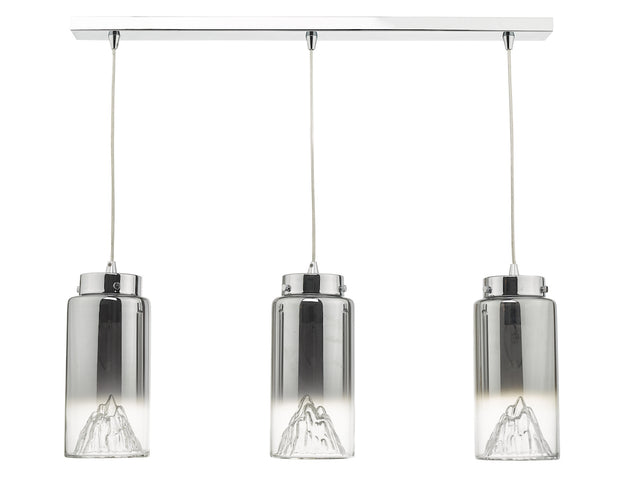 Dar Vahla VAH0310 3 Light Bar Pendant In Polished Chrome Finish With Smoked Ombre Glass Shades