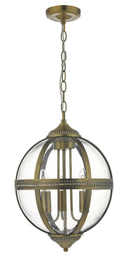 Dar Vanessa VAN0375 3 Light Pendant In Antique Brass And Clear Glass Finish