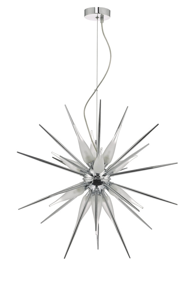 Dar Vasiliy VAS1250 12 Light Pendant In Polished Chrome & Glass Finish