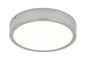 Dar Warona WAR5250 LED Flush Ceiling Light In Polished Chrome Finish With White Acrylic Diffuser Complete With Speaker - IP44