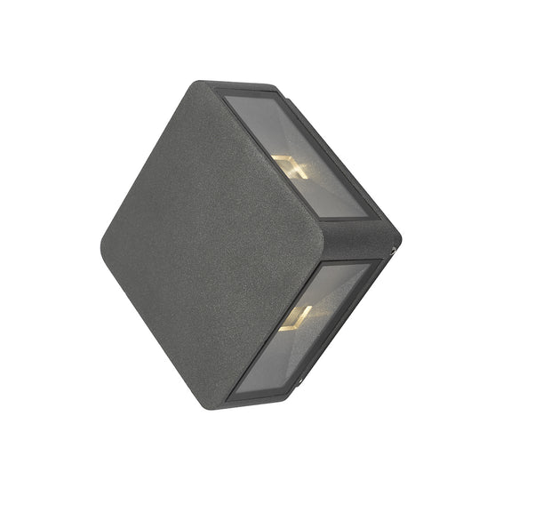 Dar Weiss WEI2139 Exterior 4 Light LED Square Wall Light In Anthracite Matt Grey Finish - IP65