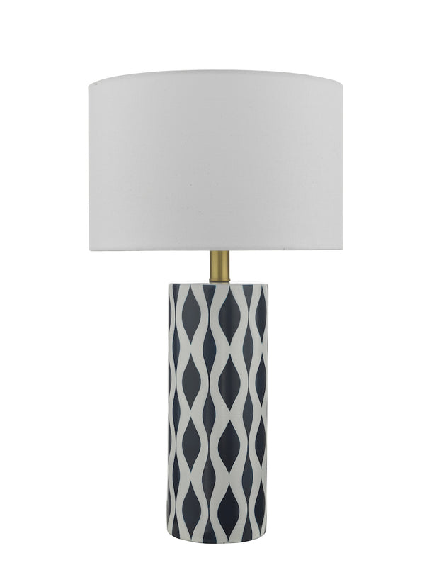 Dar Weylin WEY4223 Ceramic Table Lamp In Blue & White Finish Complete With White Shade
