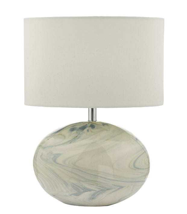 Dar Yuval YUV4223 Table Lamp In Blue Marble Effect Finish Complete With Ivory Shade
