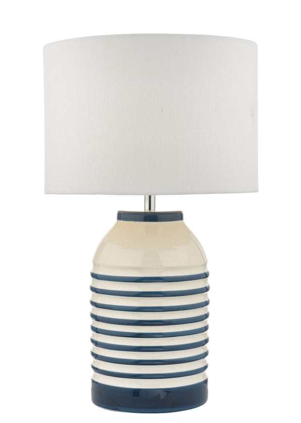 Dar Zabe ZAB4223 Ceramic Table Lamp In White & Blue Finish Complete With Ivory Shade