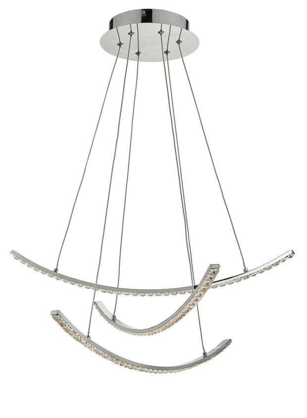 Dar Zancara ZAN0350 3 Light LED Pendant In Polished Chrome & Crystal Finish