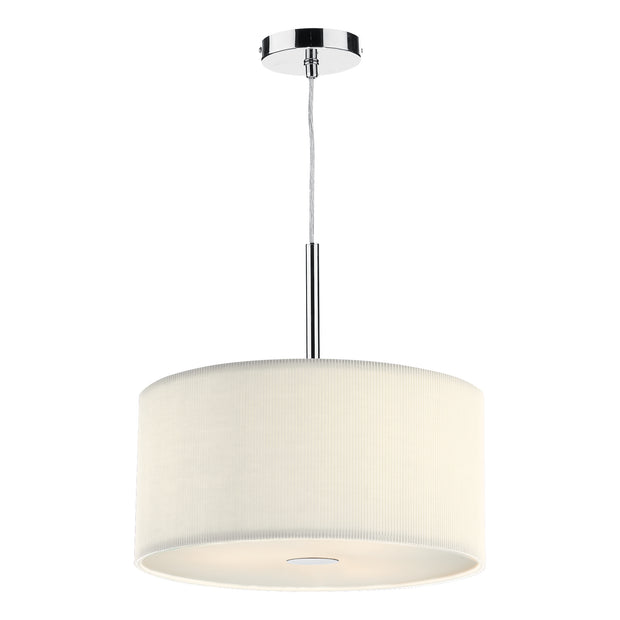 Dar Zaragoza ZAR1033 Polished Chrome Finish 3 Light Pendant Complete With Cream Cotton Shade - 40cm