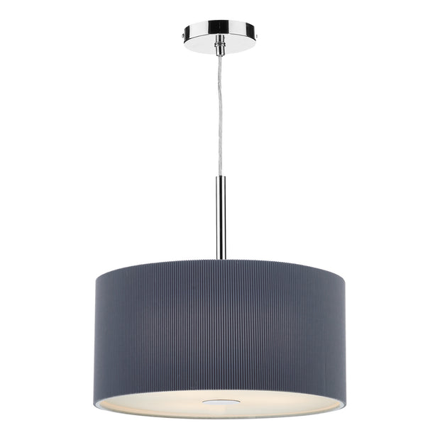 Dar Zaragoza ZAR1039 Polished Chrome Finish 3 Light Pendant Complete With Grey Cotton Shade - 40cm