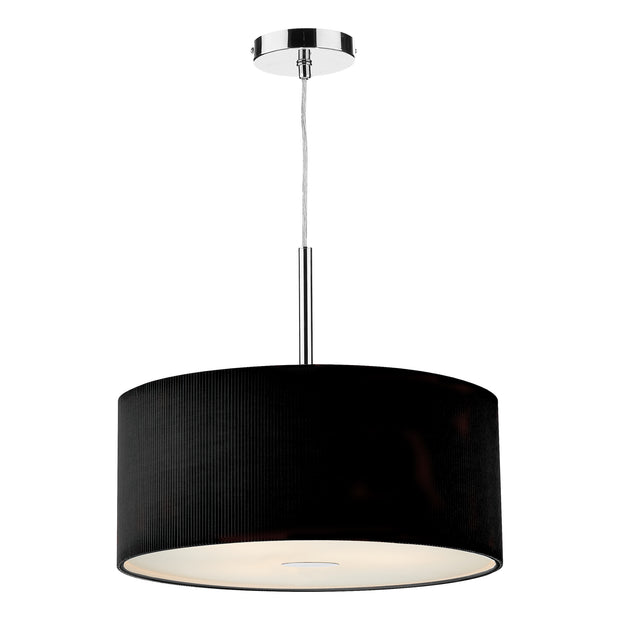 Dar Zaragoza ZAR1722 Polished Chrome Finish 3 Light Pendant Complete With Black Cotton Shade - 60cm