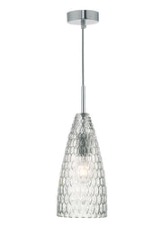 Dar Zuka ZUK0108 Single Pendant In Polished Chrome Finish With Textured Glass Shade