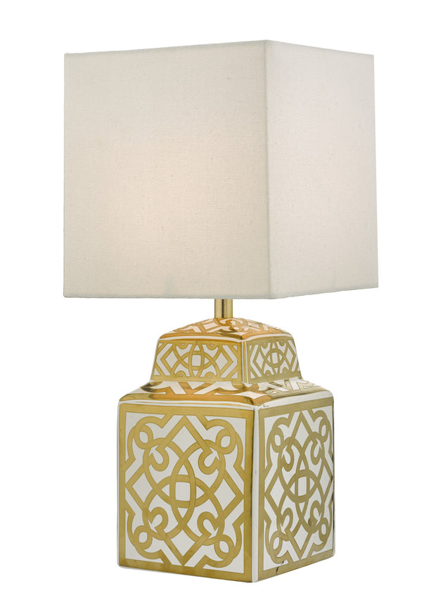 Dar Zunea ZUN4235 Ceramic Table Lamp In White & Gold Finish Complete With White Shade
