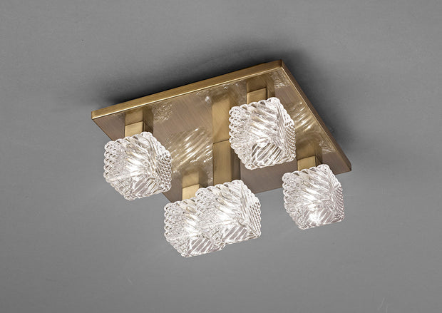 Deco Accor D0164 Antique Brass 5 Light Flush Ceiling Light With Clear Glass Shades