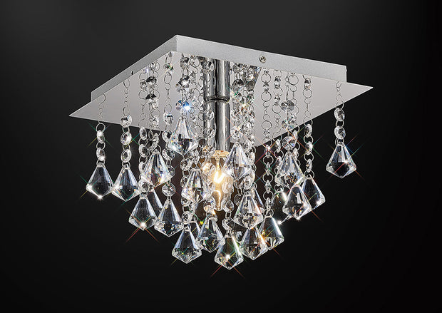 Deco Acton D0142 Polished Chrome 1 Light Square Flush Crystal Ceiling Light - 250mm