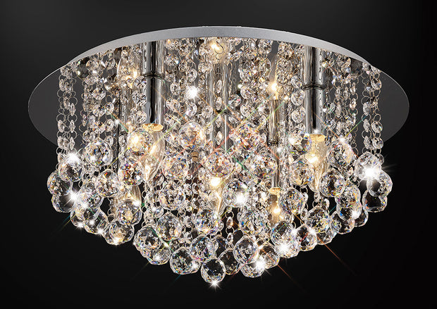 Deco Acton D0145 Polished Chrome 5 Light Round Flush Crystal Ceiling Light - 460mm