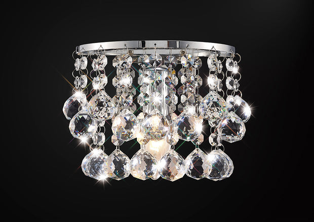 Deco Acton D0160 Polished Chrome Sphere Crystal 1 Light Wall Light