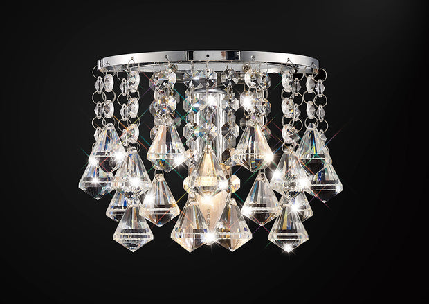Deco Acton D0161 Polished Chrome Prism Crystal 1 Light Wall Light