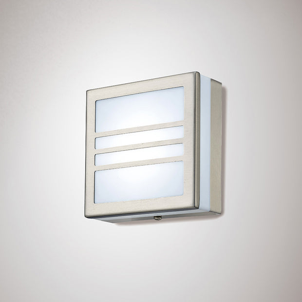 Deco Aldo D0082 Stainless Steel LED Square Flush Ceiling/Wall Light With Opal Glass & Louvre Design - IP44 4000K