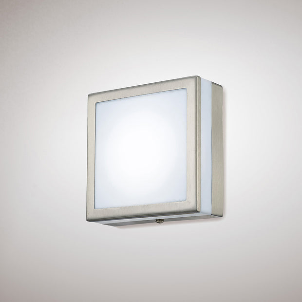 Deco Aldo D0083 Stainless Steel LED Square Flush Ceiling/Wall Light With Opal Glass - IP44 4000K