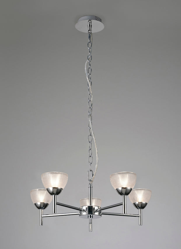 Deco Avalon D0414 Polished Chrome 5 Light Pendant With Clear Prismatic Glass Shades