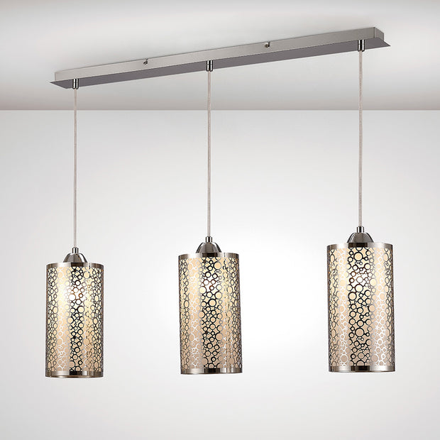 Deco Charon D0134 Polished Chrome 3 Light Bar Pendant With Frosted Glass Shades
