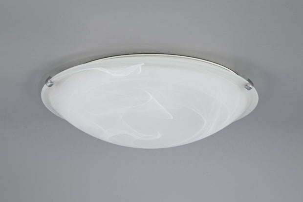 Deco Chester D0390 Polished Chrome 3 Light Flush Ceiling Light With Frosted Alabaster Glass - 400mm