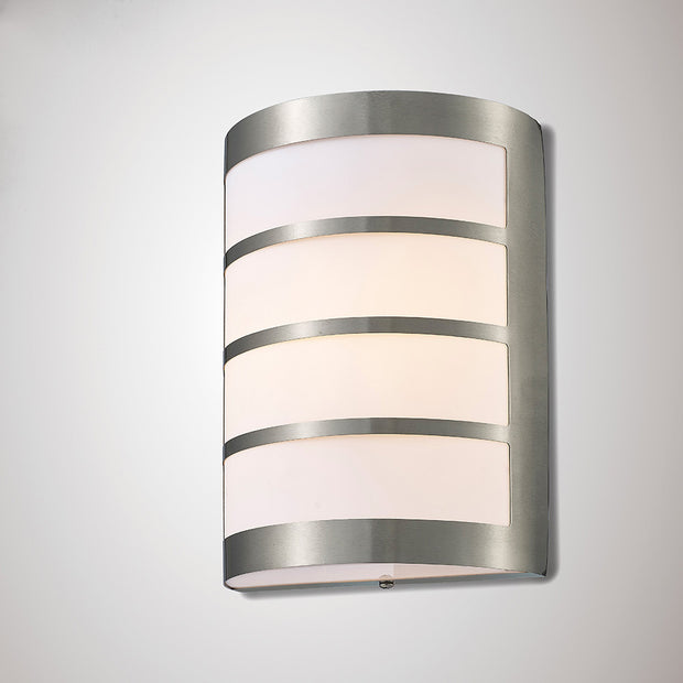 Deco Clayton D0076 Stainless Steel Exterior Flush Wall Light With Louvre Design - IP44