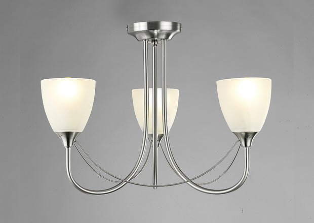 Deco Cooper D0026 Satin Nickel 3 Light Semi Flush Ceiling Light With Opal Glass Shades