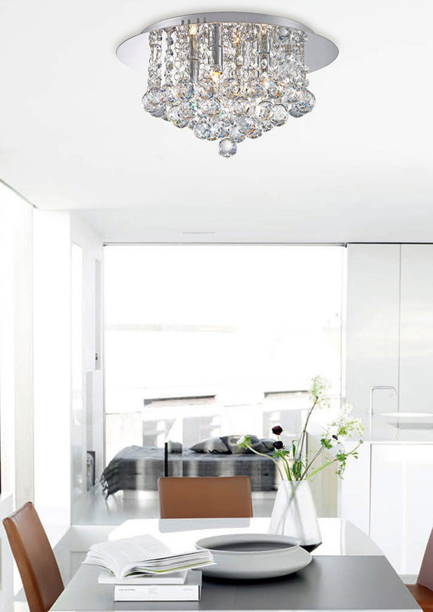 Deco Dahlia D0002 Polished Chrome 4 Light Flush Crystal Ceiling Light - 350mm