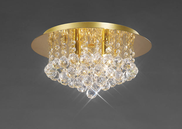 Deco Dahlia D0004 French Gold 4 Light Flush Crystal Ceiling Light - 350mm