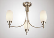 Deco Devon D0066 Satin Nickel 3 Light Semi Flush Ceiling Light With Opal Glass Shades