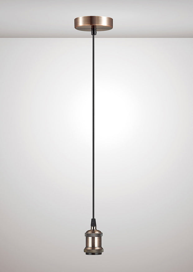 Deco Dreifa D0172 Antique Copper With Black Braided Cable Ceiling Suspension Kit