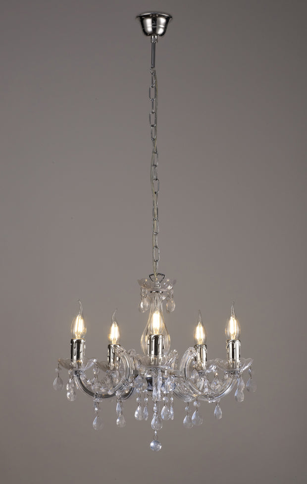 Deco Floria D0417 Polished Chrome 5 Light Chandelier With Acrylic Sconces & Acrylic Droplets