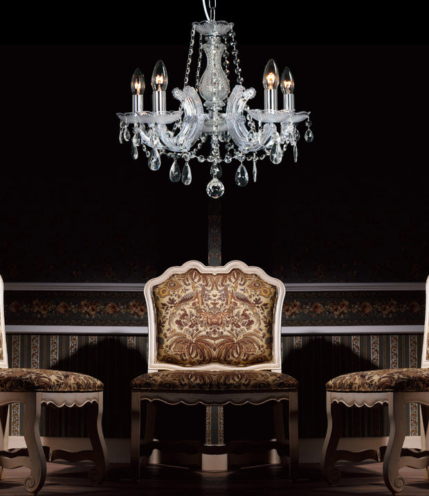 Deco Gabrielle D0018 Polished Chrome 5 Light Chandelier With Acrylic Sconces & Glass Droplets
