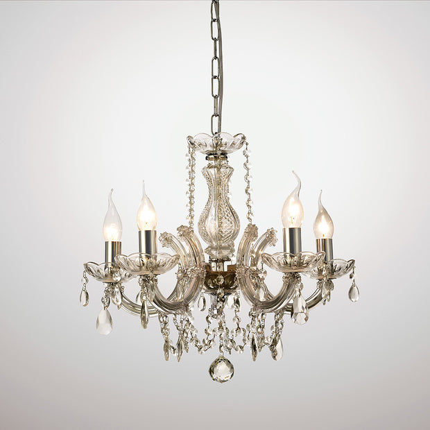 Deco Gabrielle D0020 Polished Chrome 5 Light Chandelier With Glass Sconces & Glass Droplets
