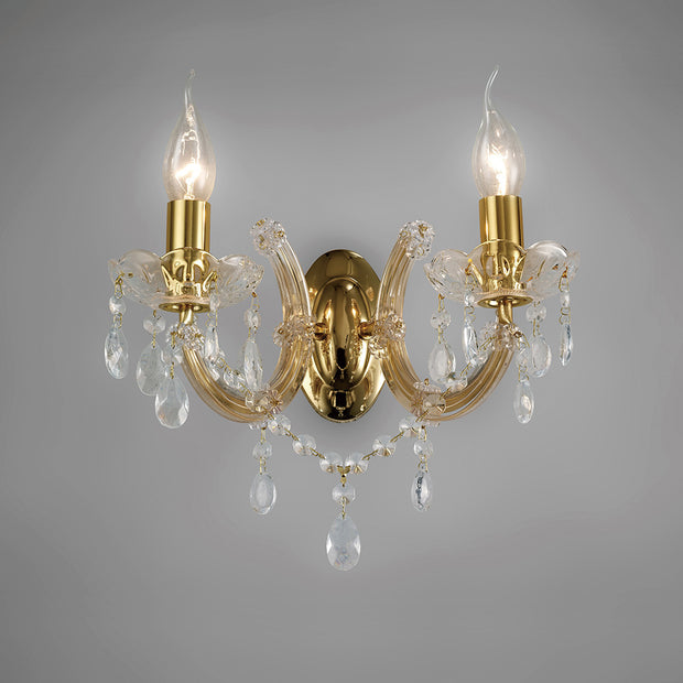 Deco Gabrielle D0025 Polished Brass 2 Light Wall Light With Glass Sconces & Glass Droplets