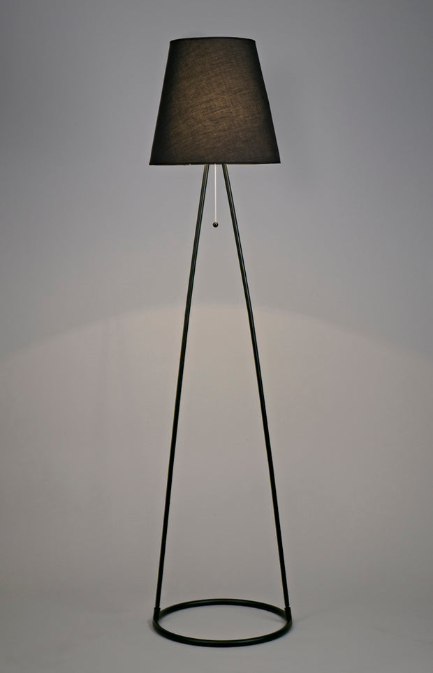 Deco Hayden D0233 Matt Black Floor Lamp Complete With Black Fabric Shade