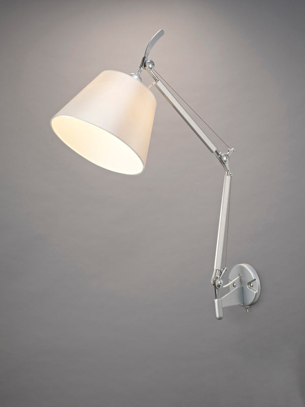 Deco Karis D0234 Silver & Polished Chrome Adjustable Single Wall Light Complete With Cream Pearl Fabric Shade
