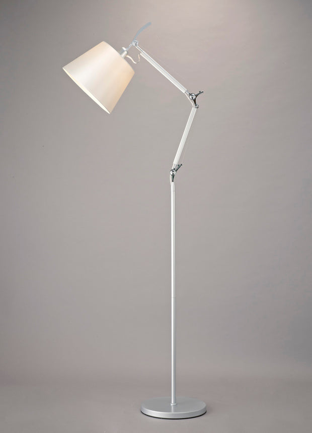 Deco Karis D0235 Silver & Polished Chrome Adjustable Floor Lamp Complete With Cream Pearl Fabric Shade