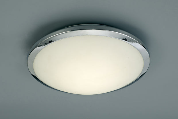 Deco Kochi D0403 Polished Chrome LED Flush Ceiling Light With Opal Glass - IP44 4000K